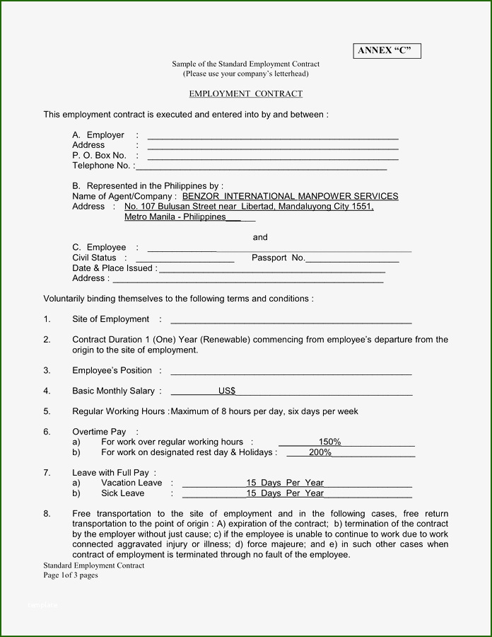 Splendid 22 Examples Of Employment Contract Templates Word